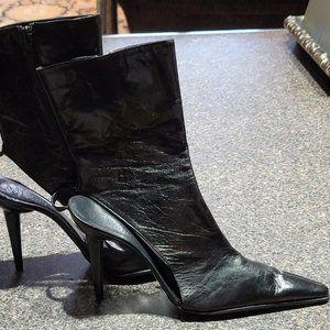 Black Leather Cutaway Boot